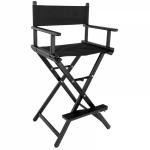 Kėdė makiažui GLAMOUR, juodas rėmas, juoda medžiaga