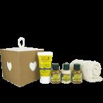 Idea Toscana kūno priežiūros priemonių rinkinys, 5 prod. (4 x 30 ml + rankšluostukas)